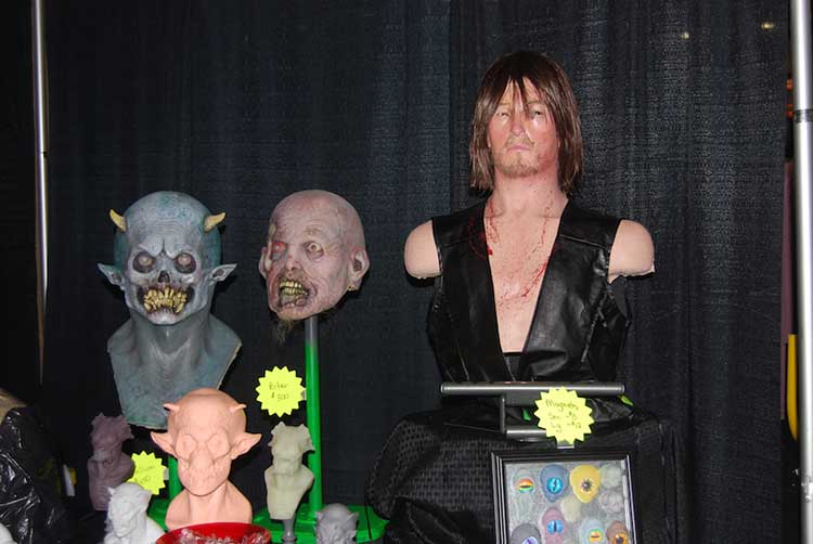 monster masks and Daryl Dixon bust