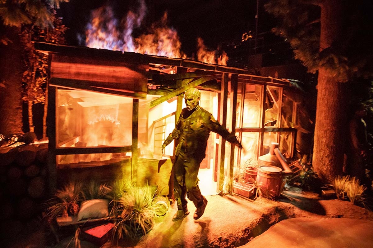 "Burning Cabin Walker at ""The Walking Dead"" attraction at Universal Studios Hollywood/Photo by David Sprague"