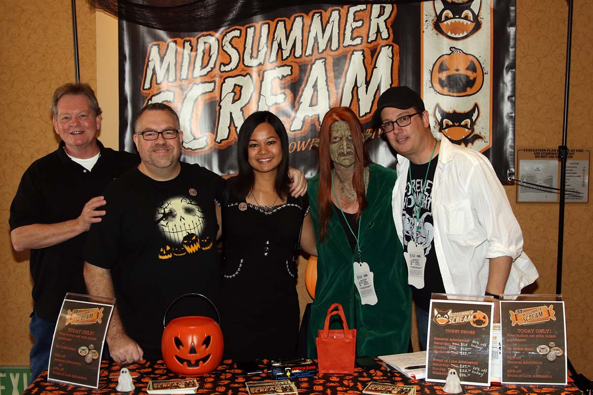 The Midsummer Scream core team: (from left to right) Executive Producer Gary Baker, Creative Director Rick West, Producer Johanna Atilano, Associate Producer Claire Dunlap (in makeup by Larry Bones), Executive Director David Markland / Photo by Scott Feinblatt
