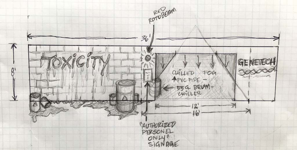 Toxicity concept sketch: The Hall of Shadows will feature a full-blown scare zone, Toxicity, with high-energy performances by the Decayed Brigade slider team three times a day.