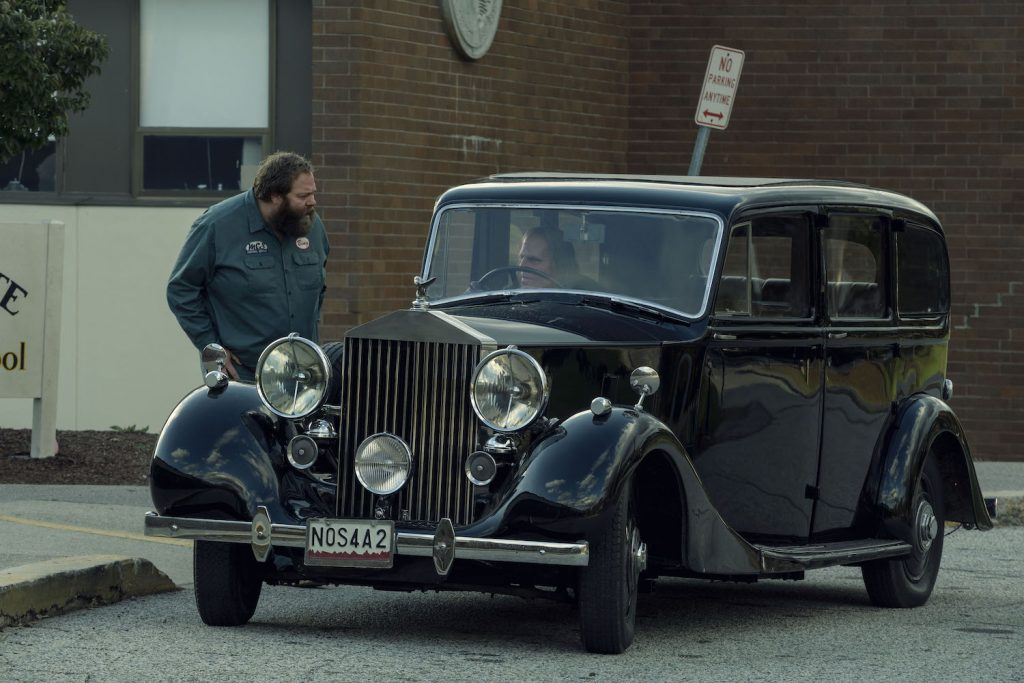 "Olafur Darri Olafsson as Bing Partridge, Zachary Quinto as Charlie Manx in ""NOS4A2"""