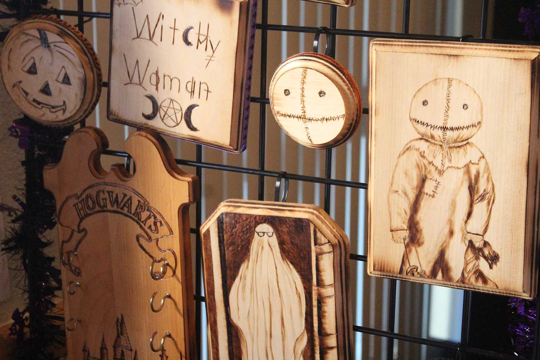 Halloween wood carvings